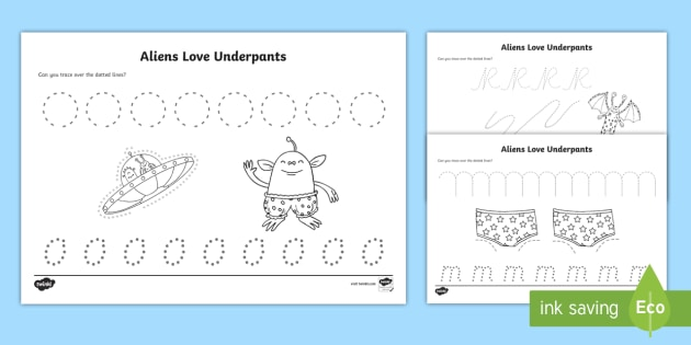 pencil control sheets to support teaching on aliens love. Black Bedroom Furniture Sets. Home Design Ideas