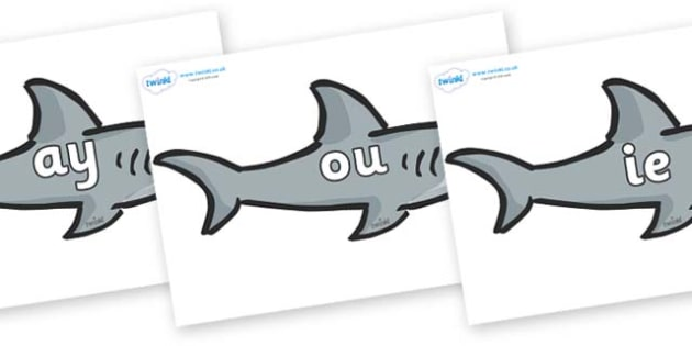 Phase 5 Phonemes on Sharks - Phonemes, phoneme, Phase 5, Phase five, Foundation, Literacy, Letters and Sounds, DfES, display