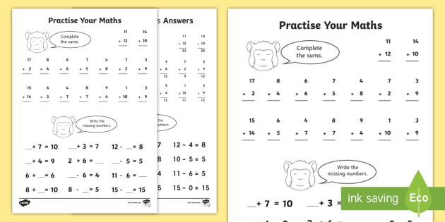 Practise Your Maths Skills Addition and Subtraction Worksheet /