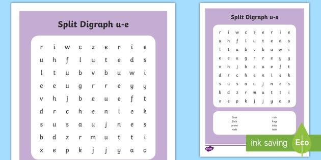 Split Digraph \'u-e\' Word Search - phonics, magic e, phoneme