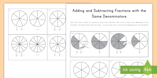 adding and subtracting fractions with the same denominator worksheet  adding and subtracting fractions with the same denominator worksheet   worksheets  math coloring