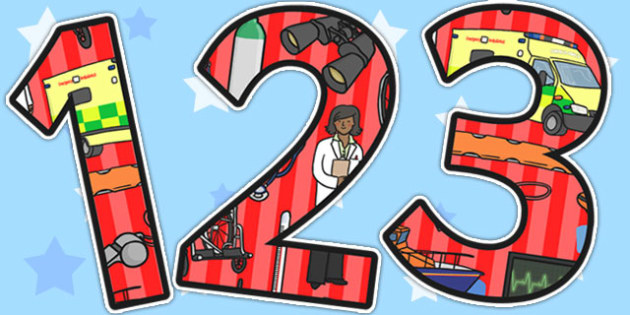 Emergency Services Themed A4 Display Numbers - emergency services