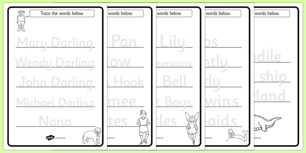Trace the Words Worksheets to Support Teaching on Peter Pan - worksheet, theme, topic
