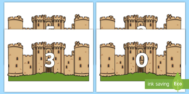 Numbers 0-31 on Castles - 0-31, foundation stage numeracy, Number recognition, Number flashcards, counting, number frieze, Display numbers, number posters
