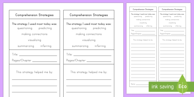 Story Lines A Reading Comprehension Game: Comprehension Strategies Worksheet / Activity Sheet