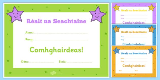 Réalt na Seachtaine Certificate Gaeilge