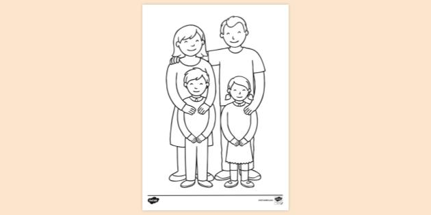 FREE! - Colouring Page My Family - Primary Colouring Sheets