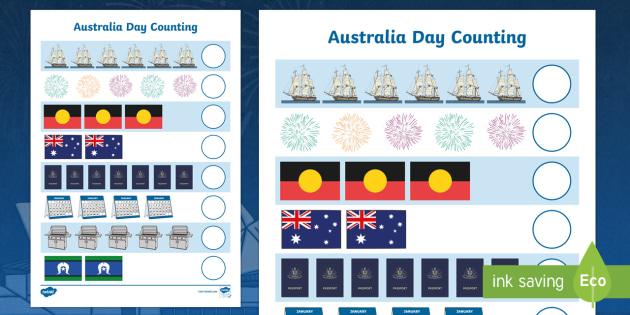 Australia Day Counting Worksheet - worksheets, celebrations