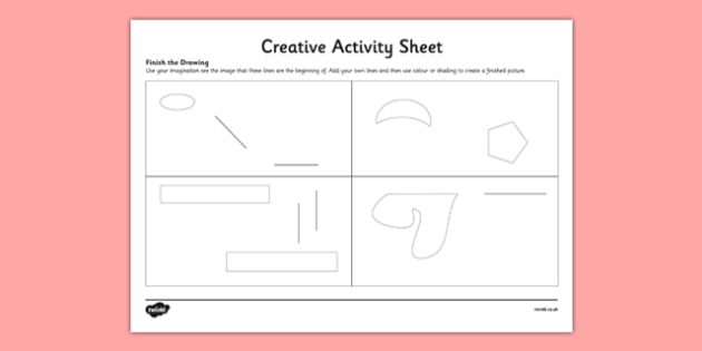 Finish The Drawing Creative Worksheet / Activity Sheet - art, imagination, draw, create, worksheet