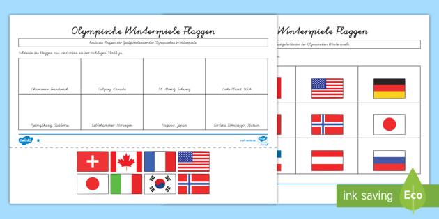 Arbeitsblätter Olympische Winterspiele : Olympische winterspiele flaggen arbeitsblätter olympia