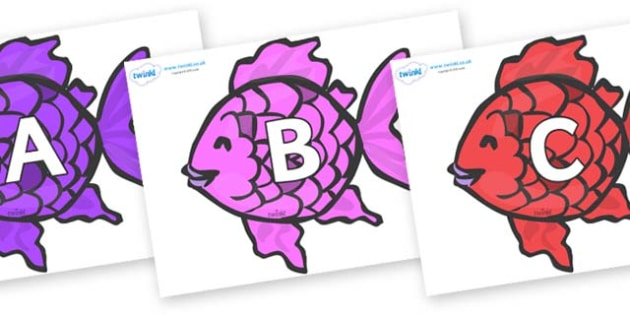A-Z Alphabet on Fish to Support Teaching on The Rainbow Fish - A-Z, A4, display, Alphabet frieze, Display letters, Letter posters, A-Z letters, Alphabet flashcards