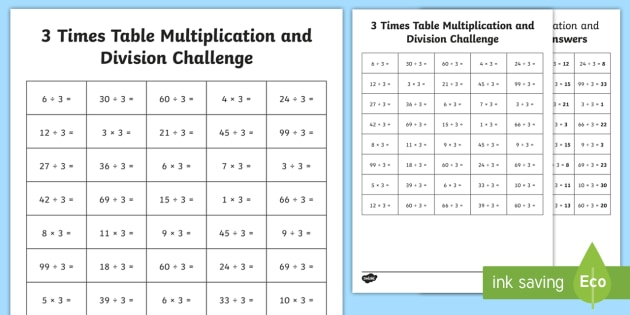 3 Times Table Multiplication and Division Challenge Worksheet