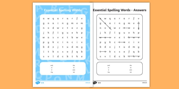 New Zealand List 1 Essential Spelling Word Search