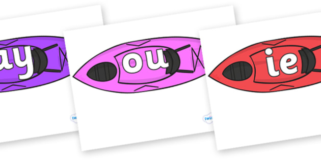 Phase 5 Phonemes on Kayaks - Phonemes, phoneme, Phase 5, Phase five, Foundation, Literacy, Letters and Sounds, DfES, display