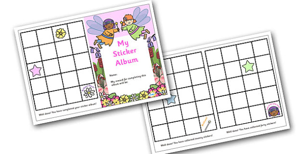 Sticker Reward Album (Fairy Themed) - reward sticker album, fairy themed, reward, sticker, album, stickers, award, chart, sticker album, complete, fairy, themed