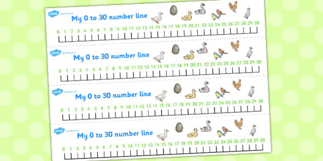 Ugly Duckling Number Lines 0-30 - number lines, ugly duckling, 30