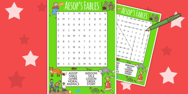 picture regarding Aesop's Fables Printable named Aesops Fables Wordsearch - Aesops fables, phrase game titles, literacy