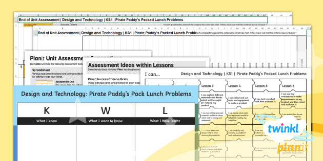 D&T: Pirate Paddy's Packed Lunch Problems KS1 Unit Assessment Pack
