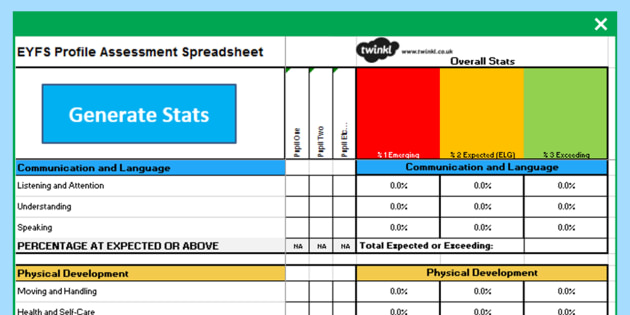 eyfs profile assessment spreadsheet eyfs early years. Black Bedroom Furniture Sets. Home Design Ideas