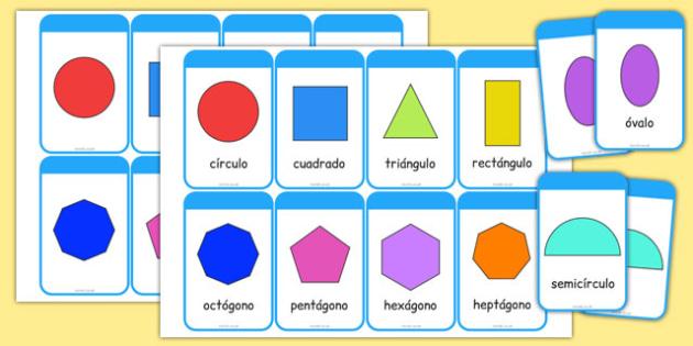 2D Shape Cards Spanish - spanish, 2d shape, cards, activity, shape, 2d, maths, numeracy