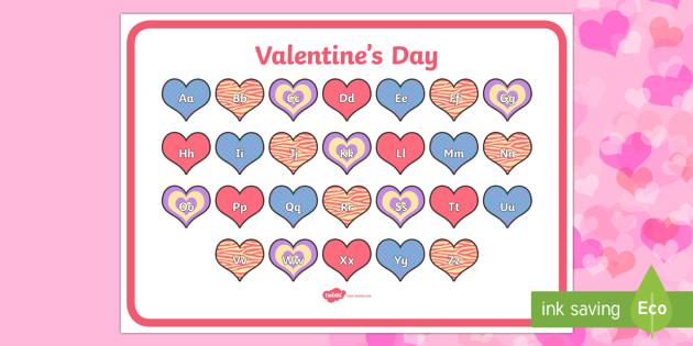Valentine's Day Themed Alphabet Mat - Valentine's Day,  Feb 14th, love, cupid, hearts, valentine, 14th Feb