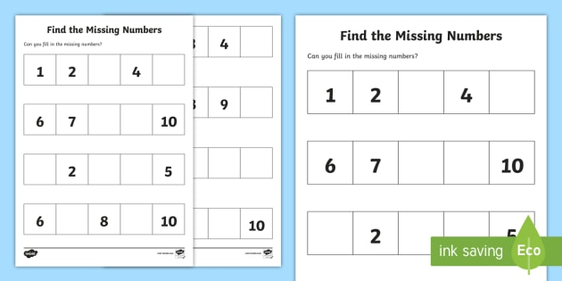 Find The Missing Numbers Worksheet Activity Sheet
