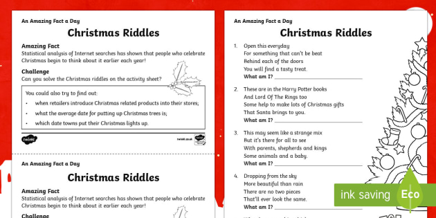 christmas riddles worksheet worksheet teacher made. Black Bedroom Furniture Sets. Home Design Ideas