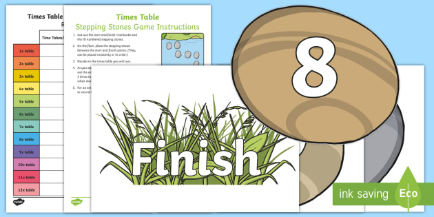 Times Table Stepping Stones Game - CfE, first level, second level, maths games, times tables, multiplication, active maths