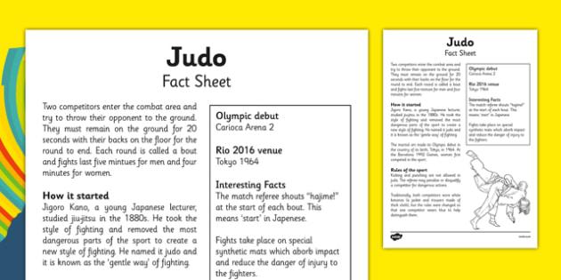 Rio 2016 Olympics Judo Fact Sheet - rio 2016, 2016 olympics, rio olympics, judo, fact sheet