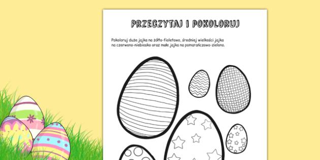 Przeczytaj i pokoloruj Pisanki po polsku - jajka, wielkanoc , worksheet