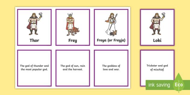 Viking God Matching Cards - vikings, viking gods, viking god matching game, viking god cards, vikings gods and goddesses, what viking gods were known for