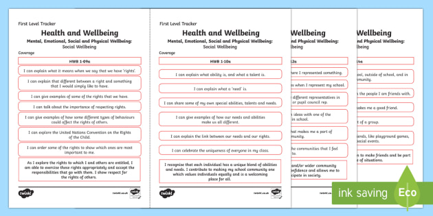 CfE Health and Wellbeing (Social Wellbeing) First Level Child Friendly Tracking