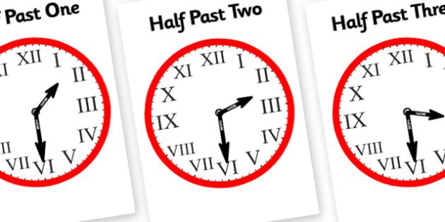 Romans Numerals Clocks Half Past-roman numerals, half past, clocks, half past clocks, roman numeral clock, hours, minutes, seconds, time