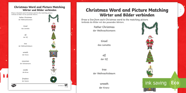 christmas word and picture matching worksheet worksheet english german. Black Bedroom Furniture Sets. Home Design Ideas
