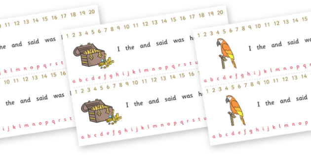 Number and Alphabet Strips (Pirates) - Alphabet, Numbers, Learning letters, Writing aid, Writing Area, Counting, Numberline, Number line, Counting on, Counting back,  pirate, pirates, treasure, ship, jolly roger, ship, island, ocean