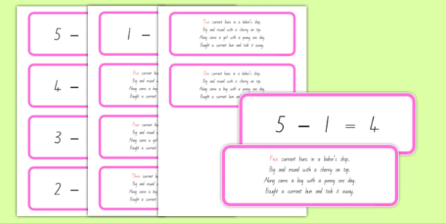 Number Sentences and Verse Cards Five Cupcakes - nz, new zealand, five cupcakes, number sentences, verse cards