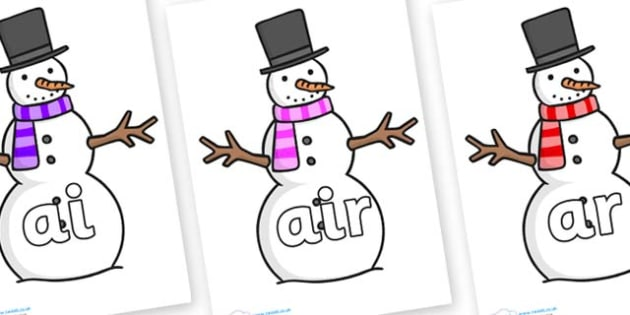 Phase 3 Phonemes on Snowman - Phonemes, phoneme, Phase 3, Phase three, Foundation, Literacy, Letters and Sounds, DfES, display