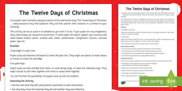 the twelve days of christmas outdoor learning activity teaching ideas take it outside