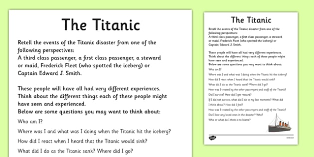 the titanic recount writing frames