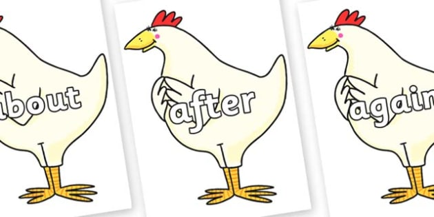 KS1 Keywords on Hullabaloo Chicken to Support Teaching on Farmyard Hullabaloo - KS1, CLL, Communication language and literacy, Display, Key words, high frequency words, foundation stage literacy, DfES Letters and Sounds, Letters and Sounds, spelling