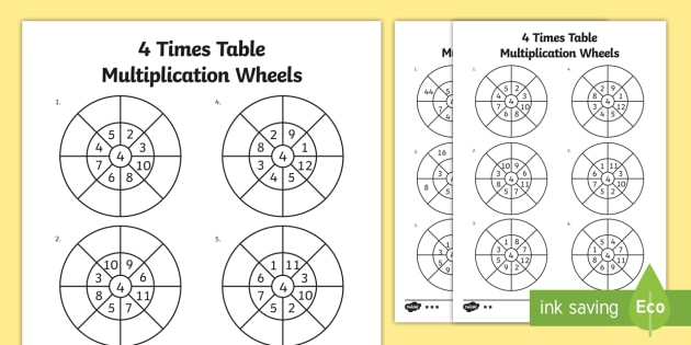 4 Times Table Multiplication Wheels Worksheet / Activity Sheet