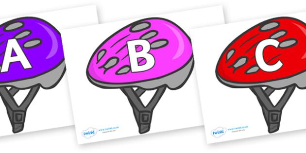 A-Z Alphabet on Bike Helmets (Multicolour) - A-Z, A4, display, Alphabet frieze, Display letters, Letter posters, A-Z letters, Alphabet flashcards