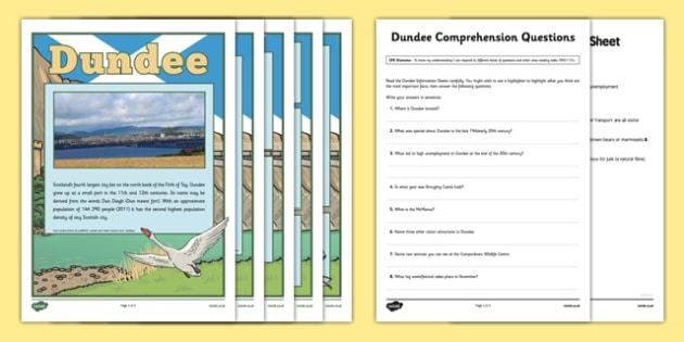 Dundee Comprehension Activity - CfE, Social Studies, Town and Cities, Scottish Cities, Dundee, scotland, scottish, geography, uk, gb, united kingdom, britain