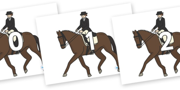 Numbers 0-50 on Equestrian (Horses) - 0-50, foundation stage numeracy, Number recognition, Number flashcards, counting, number frieze, Display numbers, number posters