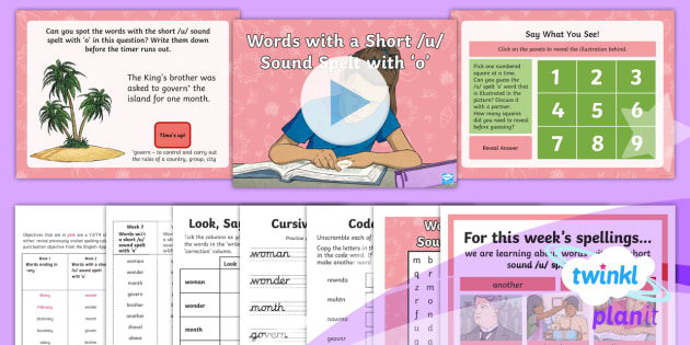 Words with the Short /u/ Sound Spelt with o Lesson Plan - Year 3