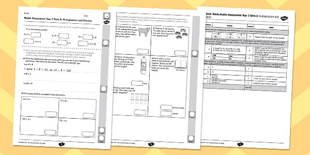 Year 3 Maths Assessment: Multiplication and Division Term 3 - year 3, maths, assessment, multiplication, division
