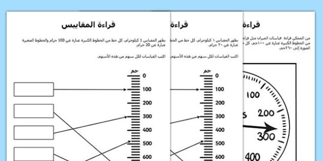 أوراق عمل قراءة المقاييس, worksheet