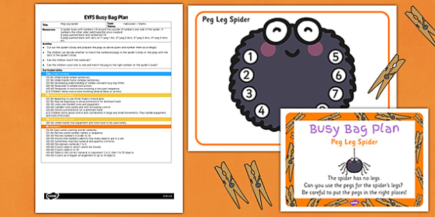 Peg Leg Spider EYFS Busy Bag Plan and Resource Pack - senses, PSHE, feel, touch, describing, speaking and listening