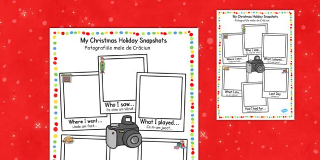 Christmas Holiday Snapshots Writing Frame Romanian Translation - romanian, christmas, holiday, snapshots, writing, frame