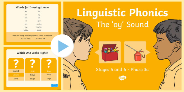 Northern Ireland Linguistic Phonics Stage 5 and 6 Phase 3a, 'oy' Sound PowerPoint